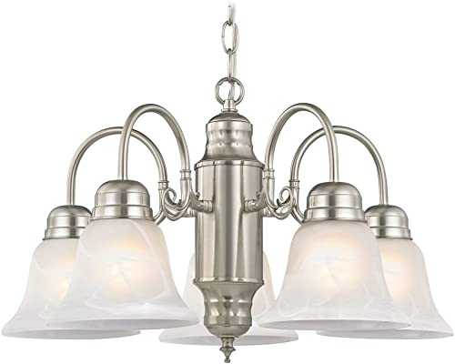 Mini-Chandelier with Alabaster Glass in Satin Nickel Finish
