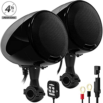 GoHawk AN4 Gen.2 All-in-One Built-in Amplifier 4 Full Range Waterproof Bluetooth Motorcycle Stereo Speakers Audio Amp System w//AUX for 7//8 to 1-1//4 Bar Harley ATV RZR UTV Quad 4 Wheeler