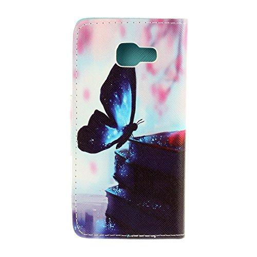 Caja de Teléfono para Samsung Galaxy A3(2016) A310 Funda LuckyW Casa Flip Folio Funda Bookstyle Funda Flexible Ligera Duradera con Función de Soporte Ranuras de Tarjeta Soporte de Identificación Cierr Mariposa