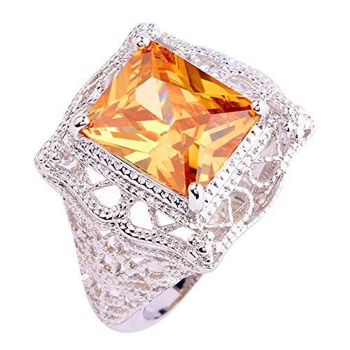 (Psiroy 925 Sterling Silver Created Morganite Filled Filigree Art Deco Statement Ring)