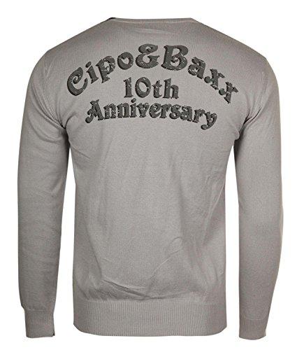 Cipo & Baxx Herren Pullover Grau C-6270-GR