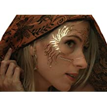 Gold Temporary Tattoos by Golden Ratio Tats, Festival Face Paint, Gold and White Flash Tattoos (CirquiTree Mask)