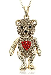 Valentine's Day Teddy Bear Necklace Red Heart Pendant Charm Mother's Day Gift for Mom
