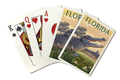 Florida - Alligator Scene (Playing Card Deck - 52 Card Poker Size with Jokers)
