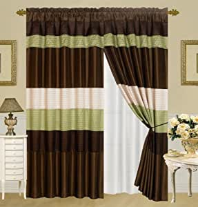 3 Layer Modern Sage Green Beige Brown Pin Tuck Curtain Window Panel With Attached