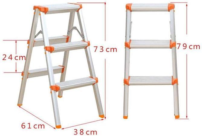 Xsgsgfs Escaleras Plegables peldaños, Escalera de Aluminio de 2/3/4 escalones, Escalera de Uso doméstico, Peso Ligero 3 Kg, escalones de usos múltiples Plegables en Ambos Lados (Size : 3 Step): Amazon.es: Hogar