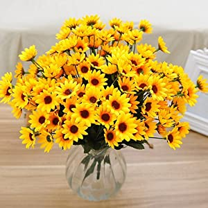 Tcplyn Premium Quality 1 Bouquet 14 Heads Artificial Flower Fake Small Sunflower Home Wedding Table Decor 102