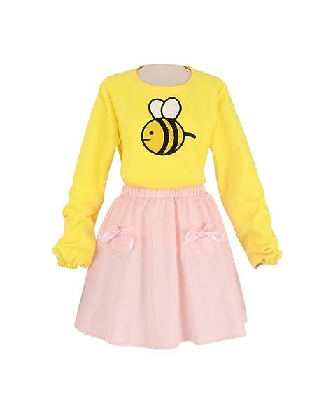 Amazoncom Miccostumes Womens Bee Yellow Shirt Pink Skirt Cosplay
