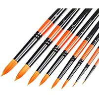 MEEDEN Artist Round Pointed Paint Brush Set Short Handle for Watercolour Acrylic Oil Painting Handmade Nylon Hair, 8 Pieces
