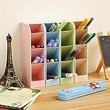 Chris.W Wheat Straw Desk Pencil Organizer - Caddies for Office/Teacher/School Supplies/Markers/Gel Pens/Paint Brushes Storage Holder Racks - 4 Colors 16 Compartment