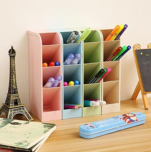 Art Supply Holder (Chris.W Wheat Straw Desk Pencil Organizer - Caddies for Office/Teacher/School Supplies/Markers/Gel Pens/Paint Brushes Storage Holder Racks - 4 Colors 16 Compartment)