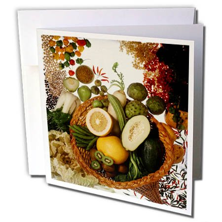 3dRose TDSwhite – Farm and Food - Food Healthy Fruits Vegetables Basket - 6 Greeting Cards with Envelopes (gc_285155_1) by 3dRose