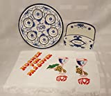 Elegant Delft Look Passover Seder Plate and Matzah Holder Set + BONUS 2 PASSOVER TOWELS AS PICTURED