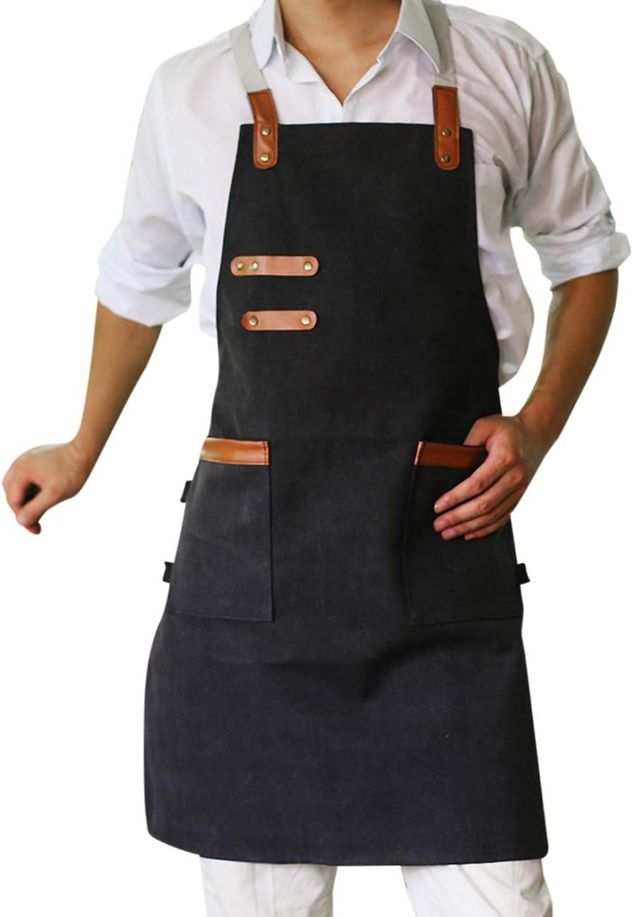 SPDYCESS Unisexo Doble Bolsillo Lienzo Lavado Delantal Cocina Jardín Ropa de Trabajo - Creativo Restaurante Café Ropa