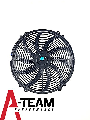 """A-Team Performance 130031 16"""" Heavy Duty 12V Radiator Electric Wide Curved S Blade FAN 3000 CFM Reversible Push or Pull with Mounting Kit"""