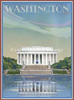 Washington D.C. Vintage Poster-Lincoln Memorial by Aurelio Grisanty