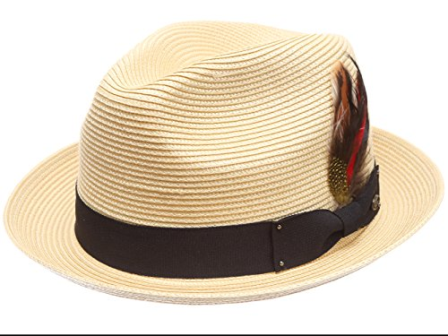 MIRMARU Mens Summer Lightweight Crushable Trilby Fedora Hat with Removable Feather