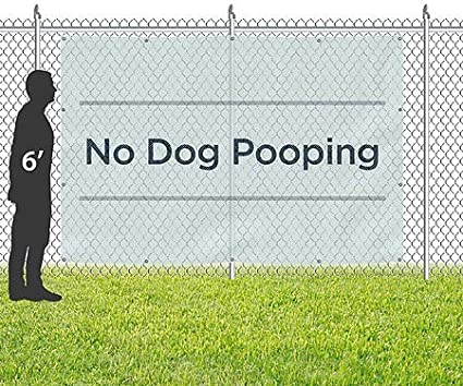Chalk Banner Wind-Resistant Outdoor Mesh Vinyl Banner CGSignLab 8x4 No Dog Pooping