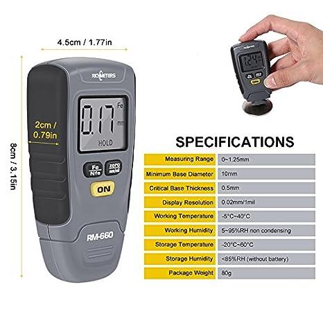 Auto medidor digital de espesor para pintura de revestimiento - Campo de medida: 0-1,25 mm - Metro con base de aluminio y hierro: Amazon.es: Amazon.es