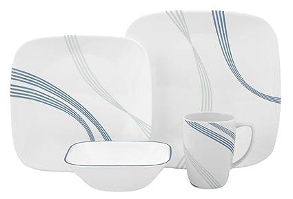 Corelle Square Round 16-Piece Dinnerware Set Ocean Arc  sc 1 st  Amazon.com & Amazon.com | Corelle Square Round 16-Piece Dinnerware Set Ocean Arc ...