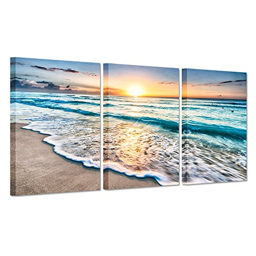 Hello Artwork Canvas Art Prints Blue Sea Sunset White Beach Painting The Picture Print On Canvas Beach Seascape In Cancun Mexico Wall Art Framed for Living Room (16''x24''x3pcs) (Print Art Deco Canvas)