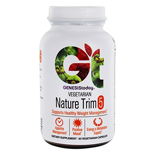 Genesis Today Nature Trim 5 - Stack with Top Weight Management Ingredients - Superfoods Including Garcinia HCA, Green Coffee, Saffron and More - 90 Vegetarian Capsules - 3 Caps Per Serving