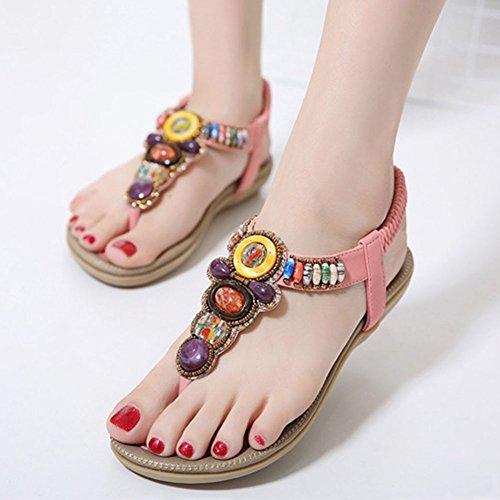 Sandalias Playa Planas Sandalia Bohemia Correa de Pink Calzado T Zapatos Rhinestone De de Mujer Adorno De La x6qqHZ0wc