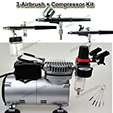 Pro 3 Double-Action Airbrush & Compressor Kit Dual-Action Air Brushes Set, Regulator and Pressure Gauge, Braided Hose, Holder, Brushes and Jars For Art Tattoo Nail