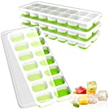 freezer herb tray - Ouddy 4 Pack Ice Cube Trays with Lid, Easy-Release Ice Cube Molds, 14-Silicone Ice Trays can Make 56 Ice Cubes, BPA Free Nontoxic and Safe, Stackable Durable and Dishwasher Safe(Green)