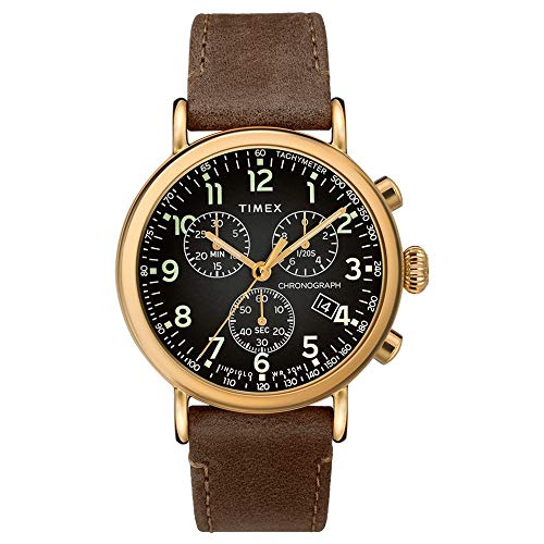 Timex 41 mm Standard Chronograph Leather Strap Black/Brown One Size