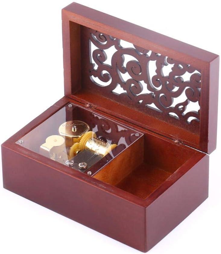Edelweiss-Argent Simlug en Bois Creux 18 Note Wind Up Music Box Cadeau Romantique pour No/ël Mariage Anniversaire Saint Valentin Home Decor