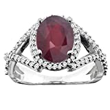 14K White/Yellow/Rose Gold Enhanced Genuine Ruby Ring Oval 10x8mm Diamond Accent, sizes 5 - 10