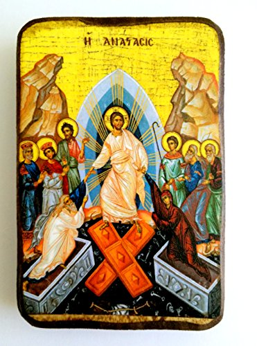Wooden Greek Christian Orthodox Wood Icon of the Resurrection / A0