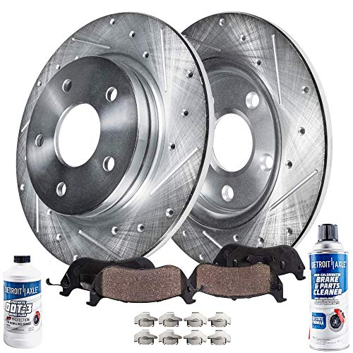 Detroit Axle - Pair (2) Rear Drilled and Slotted Disc Brake Rotors w/Ceramic Pads w/Hardware & Brake Cleaner & Fluid for 1999 2000 2001 2002 2003 2004 Jeep Grand Cherokee