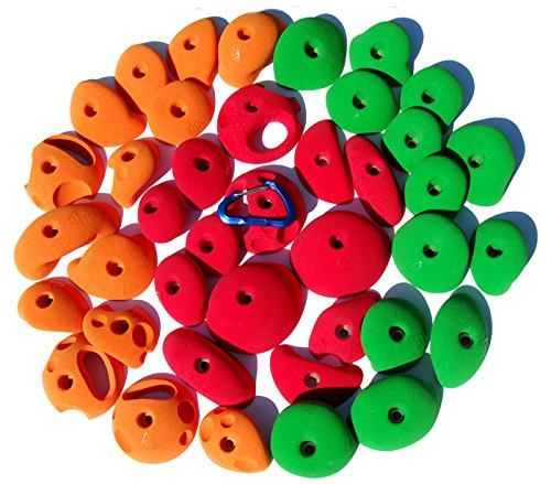TREADWALL PACK #1 (SET OF 40) | Climbing Holds | Green, Orange & Red by Atomik Climbing Holds