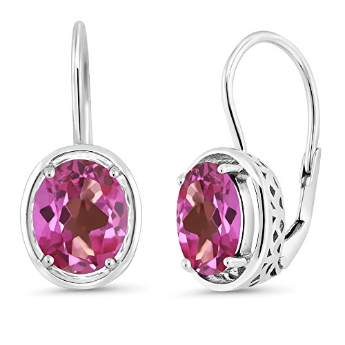 Gem Stone King 3.60 Ct Oval Pink Mystic Topaz 925 Sterling Silver Dangle Earrings