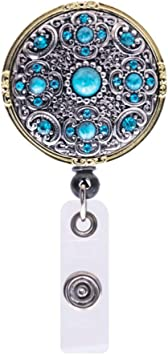 ID Name Card Clip Lanyards Key Ring Flower Pearl Badge Holder Retractable