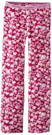Calvin Klein Little Girls'  Ck Plush Heart Pajama Pant, 99-Assorted, X-Small 5/6