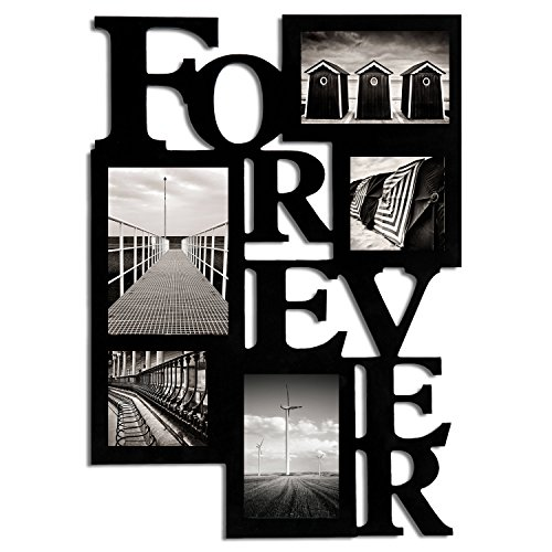 """FrameArmy Forever Black Wood Picture Photo Frame, 5 Openings Multiple Sizes , Modern Collage Wall Hanging 4x4"""" 4x6"""" 5x7"""""""