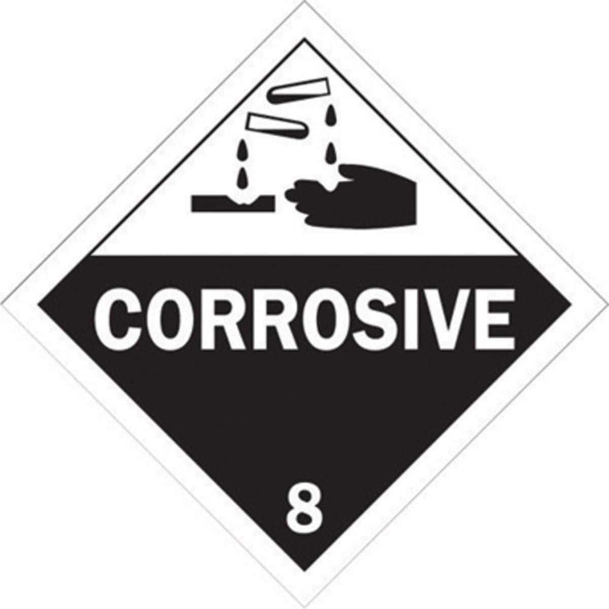 Brady 13/4'' X 13/4'' X .024'' Black On White B-101 Polycoated Tagstock DOT Vehicle Placard''CORROSIVE 8''