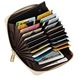 Women's RFID Blocking 20 Slots Card Holder Leather Zipper Compact Accordion Wallet,Gold