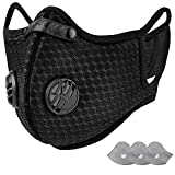 AstroAI Reusable Dust Mask with Filters - Adjustable for Woodworking, Construction, Allergies, Pollen, Outdoor (Black, 1 Mask + 2 Extra Activated Carbon Filters Included)
