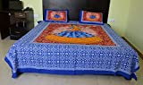 King Size Bed sheet Rajasthani Print Double King Size Rajwadi, Women Dance Hand Block Printing 100% Cotton Bed sheet Traditional Jaipuri Bedsheet With Two Pillow Covers Exclusive By ''Gemsandcraft''