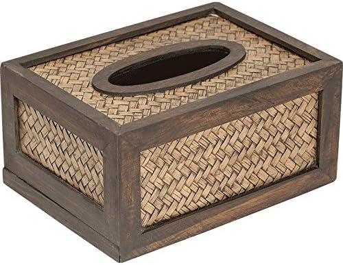 HDOUBR Creativa Caja de Papel Simple casa de Madera Sala de Estar Caja de pañuelos de bambú Caja de Papel Trenzada Rota servilleta de Madera Caja Grande: Amazon.es: Hogar