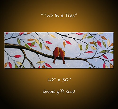 Art Painting Modern Contemporary Lovebirds in a tree, 10 x 30 .. Two In a Tree, Great gift size, wedding gift by SkyeArt