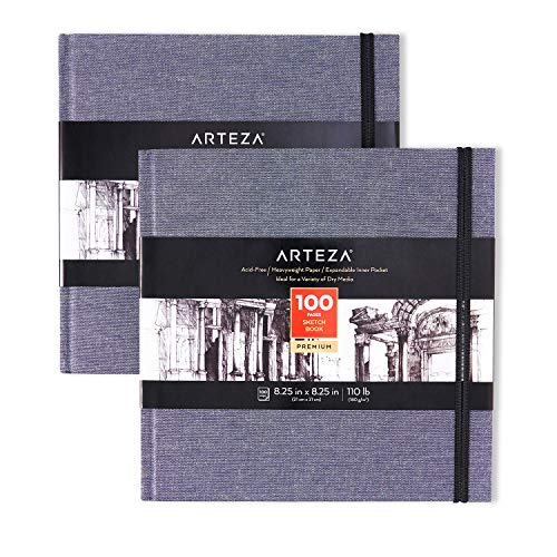 Arteza Art Sketch Book, 8.25x8.25 inch, 100 Sheets, Dusty Blue Square Linen-Bound Hardcover, 2-Pack, 110lb/180gsm, Acid-Free Sketchbooks, Art Supplies for Drawing with Dry Media