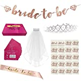 Bachelorette Party Decorations | Bridal Shower and Engagement Essential Favors Supplies Kit Photo Booth Ready with Bride to Be Sash and Banner, Cute Tiara, Veil, Tattoo Set + BONUS Fun Dare Cards Game