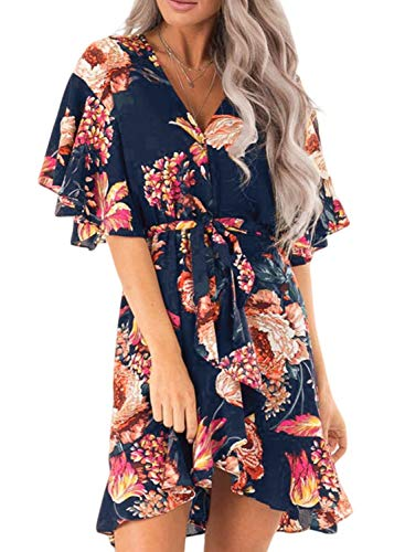 - Elapsy Womens Summer Beach Casual V Neck Ruffle Sleeve Hawaiian Boho Flower Pattern Mini Dress Large
