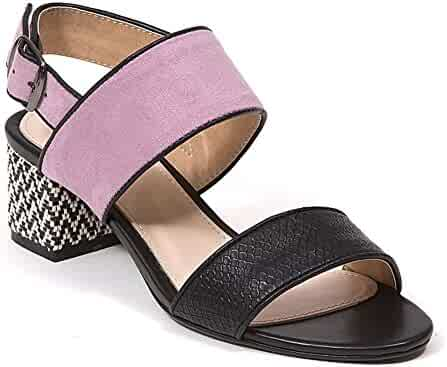 2429365711e3a French Blu Women s Elaine Double Strap Sling Back Block Heel Color Block  Sandal