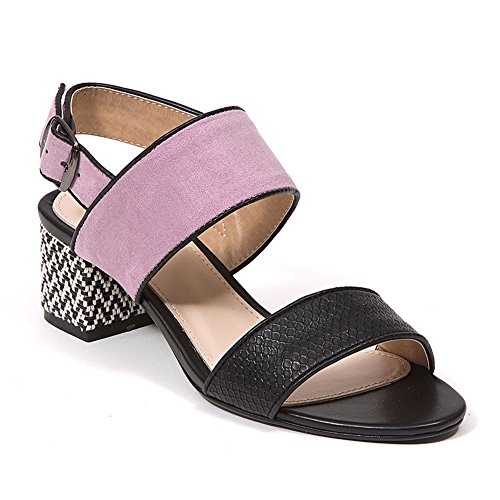 French Blu Women's Elaine Double Strap Sling Back Block Heel Color Block Sandal